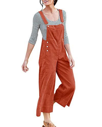 Ybenlover Damen Lange Latzhose Lässig Cord Culottes Hose Jumpsuit Overalls Cord-overall