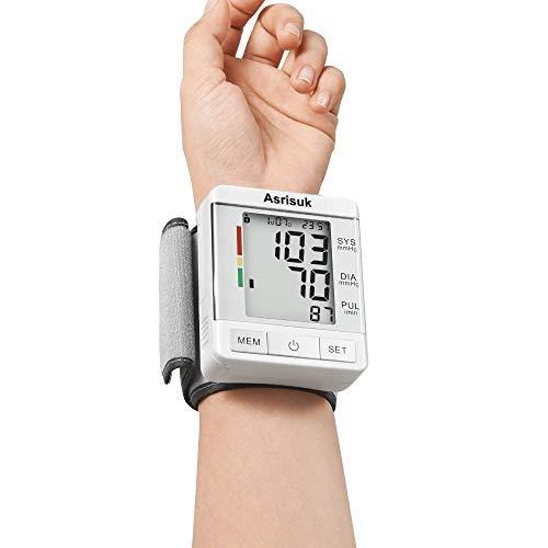 Asrisuk Blutdruckmessgerät mit Einstellbarer Handgelenk-Manschette Genaue Messwerte Pulsmessgerät Messwertspeicher für 2 Benutzer Großes LCD-Display Inkl. Aufbewahrungsbox