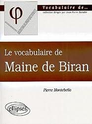 Le vocabulaire de Maine de Biran