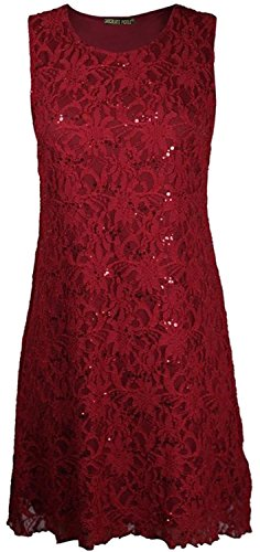 CHOCOLATE PICKLE New Womens Floral Lace Lined Sparkly Flare Sequin Dress Top Wine 16-18