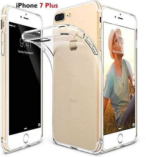 Liquid Skin Veer licht Thin Rubber hoesje voor Apple iPhone 7 Plus/iPhone 8 Plus (5.5 inch) Ultra Clear Soft Flexible Gel TPU Transparent Skin Scratch Proof Bumper Cases