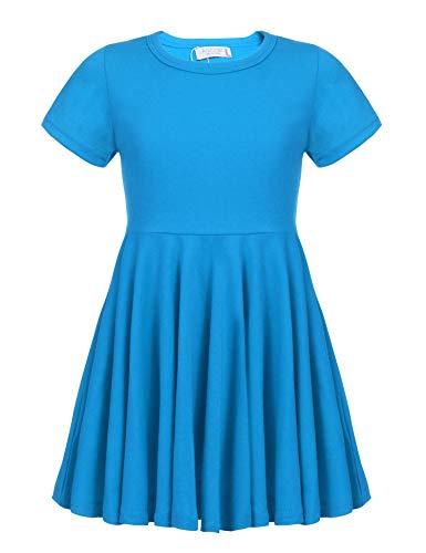 Kleid Mädchen Sommer A-Linie Kurzarm Baumwolle T-Shirt Kleider Freizeitkleidung, Dunkelblau, 140