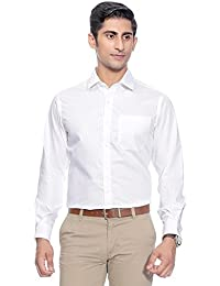 SWISSCOTT Men's White 100% Cotton Slim Fit Formal Shirts