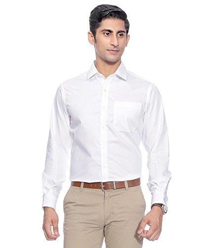 SWISSCOTT Men's White 100!% Cotton Slim Fit Formal Shirts (40)