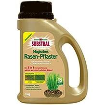 Substral Magisches Rasen-Pflaster, Rasenreparatur, Mischung aus Rasensamen, Premium Keimsubstrat und Dünger, 1 kg Streuflasche