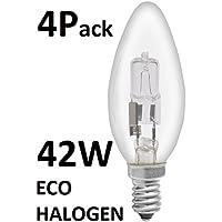 Halogen-Leuchtmittel, Kerzenform, umweltfreundlich, 42W, entspricht 60-W-Glühbirne, kleiner Edison-Sockel E14/SES, dimmbar, 4Leuchtmittel