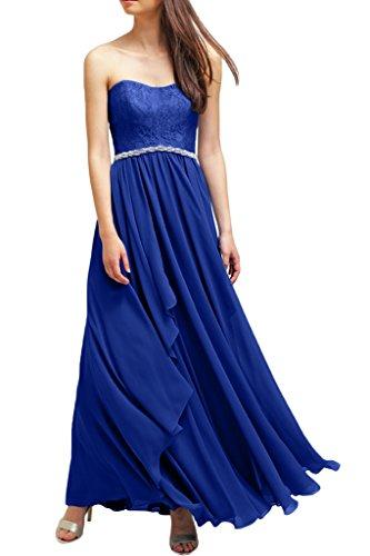 Milano Bride Modisch Traegerlos Lang Chiffon Abendkleider Festkleider Steine Spitze Brautjungferinkleider Faltenwurf Royal Blau