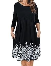 Damen Kleider,Damen T-Shirt Kleid mit Taschen {Langarm} Floral Plissee Swing Dress