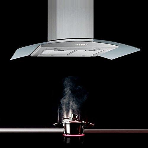 NEG Dunstabzugshaube NEG38 (Abluft) Edelstahl-Inselesse mit LED-Beleuchtung, 90cm Glas-Schirm, Motorleistung 850m³/h sehr leise
