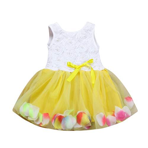 INLLADDY Kleid Baby Mädchen ärmellose Perle Blume Blütenblatt Print Prinzessin Kleid Festival Hochzeit Kleid Party Kostüm Gelb 3-4Jhare