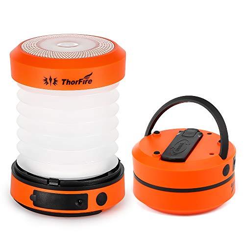 LED Campinglampe ThorFire 2 in 1 Faltbare Laterne Taschenlampe USB Wiederaufladbare Nachtlicht Campingleuchte mit Handkurbel Dynamo und Hängender Griff für Angeln Camping Wandern Abenteuer Notfall