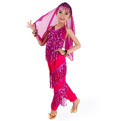 SymbolLife Petites filles Belly Dance costume, pantalon de harem + Halter Top Ensembles Taille XL Rose