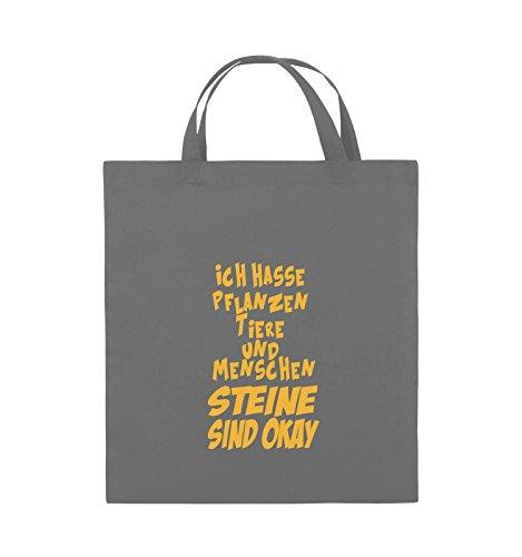 Comedy Bags - ICH HASSE PFLANZEN TIERE - Jutebeutel - kurze Henkel - 38x42cm - Farbe: Schwarz / Pink Dunkelgrau / Gelb