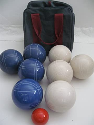 Premium Quality Engraved EPCO Bocce package - 107mm EPCO White and Blue balls...