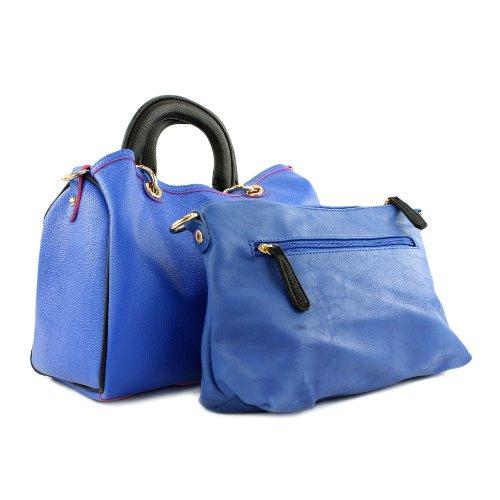 Tasche Damentasche Handtasche Tragetasche Kunstledertasche Lederimitat LK711 Blau
