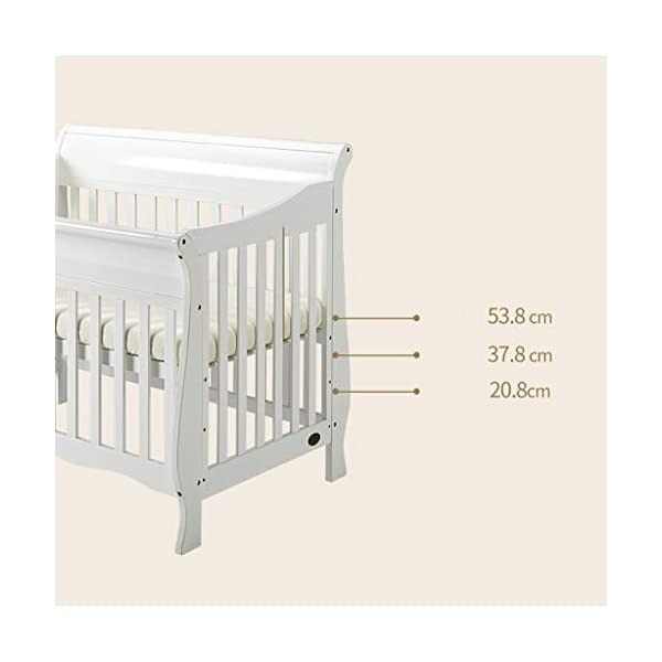 DUWEN-Cot bed Solid Wood Multifunction Baby Cot European Style Cot Bed Toddler Bed Splicing Bed With Wheel (color : White) DUWEN-Cot bed 1. This multifunctional crib is made of environmentally-friendly pine wood. It is tough and durable, not easy to crack. It has a load-bearing capacity of more than 120KG. It is green and non-toxic paint. It is healthy and environmentally friendly. It is harmless to the baby. Mother can buy with confidence. 2. The three pedestal positions of the crib are suitable for the baby's growth stage, improving visibility and ventilation in all directions, selecting the gear according to the baby's body and age, making the space bigger and more comfortable to use. 3. Multi-functional crib can be easily converted into a game bed, children's sofa, designed for healthy sleep of 0-6 years old baby (additional function can be used up to 6 years old), 55mm safety standard guardrail spacing, children's hands and feet will not be stuck 7