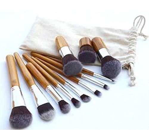 HoEOQeT Ensemble de pinceaux de maquillage, 11 manches en bambou vert, ensemble de pinceaux avec sac de rangement, ensemble complet d'outils de beauté pratiques pour les débutants et les maquilleurs
