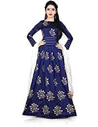 Indo Western Gown Women's Heavy Taffeta Silk Free Size Gown Latest Design Salwar Suit For Women Heavy Designer...