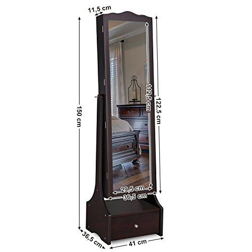 SONGMICS Schmuckschrank mit LED Beleuchtung, abschließbarer Spiegelschrank, mit Innenspiegel und klappbarer Innenablage für Make-up, braun JBC87BR - 7