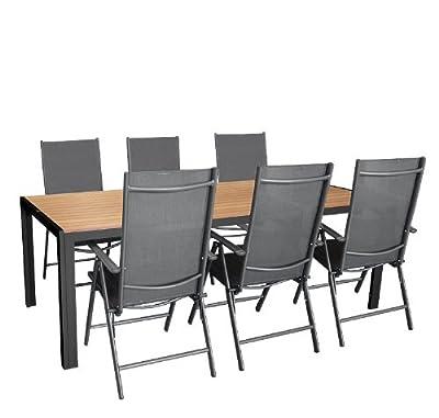 7tlg. Gartengarnitur Aluminium Polywood Non-Wood Gartentisch 205x90cm Aluminium Hochlehner 7-Positionen Textilenbespannung