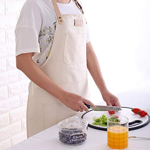 LanLan Tablier sans Manches en Coton à la Mode pour travaux ménagers de Cuisine Blanc crème