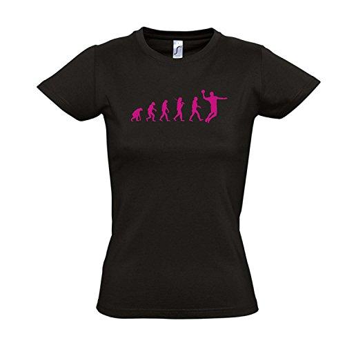 Damen T-Shirt - EVOLUTION - Handball Sport FUN KULT SHIRT S-XXL , Deep black - pink , S