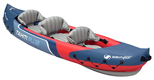 Sevylor Tahiti Plus Kayak hinchable, kayak de mar 2 + 1 personas, para 2 adultos y 1 niño, piragua hinchable, canoa inflable, 363 x 88 cm