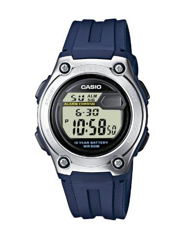 Casio CASIO Collection – Reloj digital unisex de cuarzo con correa de resina azul (luz, cronómetro, alarma) – sumergible a 50 metros