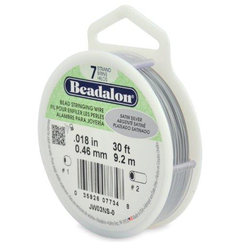 Beadalon 9,2m Spule 7-Strang-Draht, 0,46mm Durchmesser, Satin-Silber (Beadalon 7 Strang)