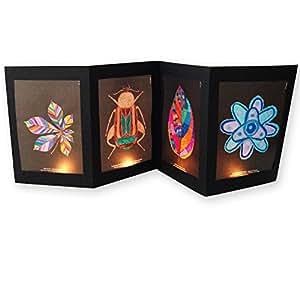 Le Petit Manuel – Kit Coloriage Ornements fenêtre : Feuilles, coléoptères et gouttes d'eau sur papier vitrail transparent