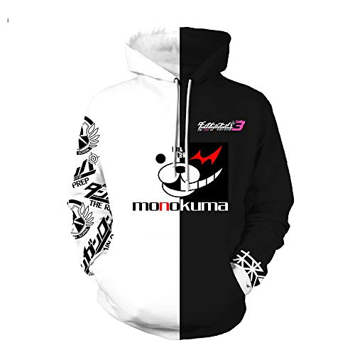 XH Anime Danganronpa Monokuma Cosplay Kostüm Unisex Erwachsene Hoodie Sweatshirt Mit Kapuze Schwarz Weiß Langarm Freizeitjacke (Größe: - Kawaii Bär Kostüm