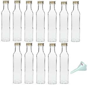 lot de 12 petites bouteilles en verre 250ml avec bouchon vis et entonnoir 5cm. Black Bedroom Furniture Sets. Home Design Ideas