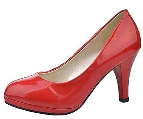 DADAWEN Women's Ladies Work Platform Low Mid Heel Pumps Court Size Shoe-Red 6 UK size