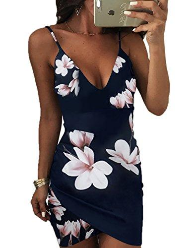Boutiquefeel Damen Spaghetti Strap Rückenfrei Blumen Bedruckt Bodycon Kleid Blau M (Tanzbekleidung Modische)