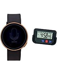 LEMONADE - PACK OF 2 - Golden Dial Touch Screen Digital Led Unisex Watch For Men, Boys, Girls, Women & CAR / TABLE...