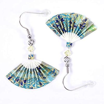 Boucles d'oreilles éventails origami bleus et dorés - crochets inox