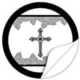 20 x Etiketten Trauer, rund / Vintage Kreuz / Beerdigung / Beileid / Tod / Bestattung / Bestatter / Bestattungsunternehmen / Aufkleber für Umschläge