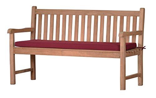 Rote Bankauflage Kanaria - 110 x 47 cm |  Bank-Polster aus 100% strapazierfähigem Polyester  6 cm dickes bequemes Bankkissen  Polster-Auflage als Sitzpolster für Gartenmöbel & als...