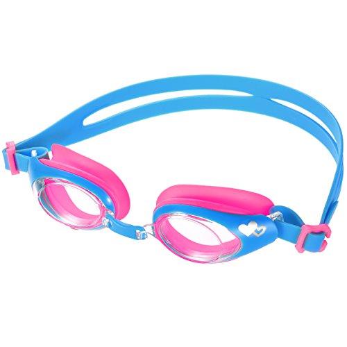 Kid 's Swiming gafas, lismile no fuga de la gafas de natación, anti niebla lentes, cabezal de silicona ajustable correa, marco de silicona suave, para niños o niñas, perfecto para natación, buceo, snorkel y surf, color rosa