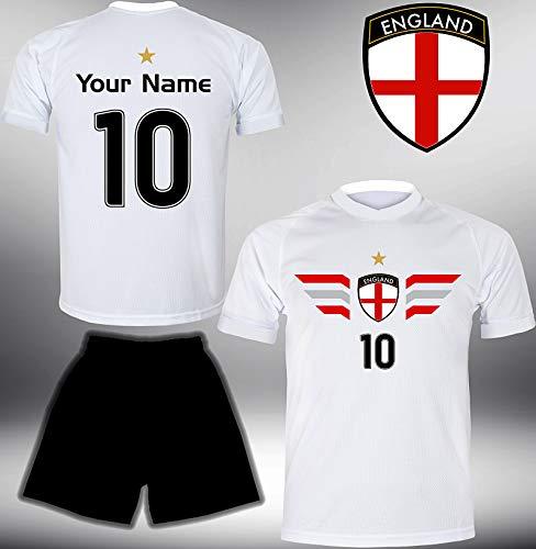 ElevenSports England Trikot Set 2018 mit Hose GRATIS Wunschname + Nummer im EM WM Weiss Typ #EN4th - Geschenke für Kinder Erw. Jungen Baby Fußball T-Shirt Bedrucken