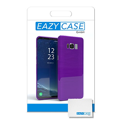 """EAZY CASE Handyhülle für Samsung Galaxy S8 Plus Hülle - Premium Handy Schutzhülle Slimcover """"Brushed"""" Aluminium Design - TPU Silikon Backcover in brushed Lila Brushed Lila"""