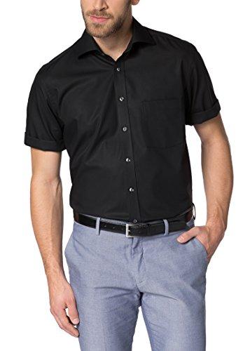 Herren Hemd Modern Fit Kurzarm, schwarz, 40
