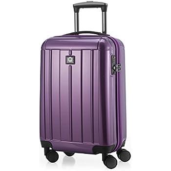 HAUPTSTADTKOFFER - Kotti - Set de 2 Valises bagages à main Trolley 56 x 35 x 21 cm, 4 roues, TSA, surface brillant, Rouge/Bleu