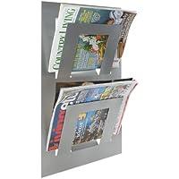 Wall Mounted Magazine Rack Double (Silver)