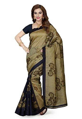 ISHIN Bhagalpuri Silk Blue & Beige Printed Women's Saree  available at amazon for Rs.499