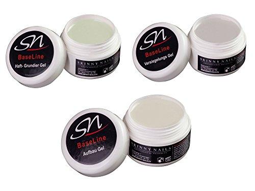 UV Haftgel Grundiergel, Aufbaugel dickviskos und Versiegelungsgel, Nagelgel Set klar (3 x 15 ml)
