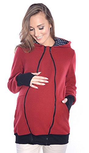 Mija - 3in1 Tragejacke, Umstandsjacke / Fleece Tragepullover für Tragetuch für Babytrage 4018A Wine rot