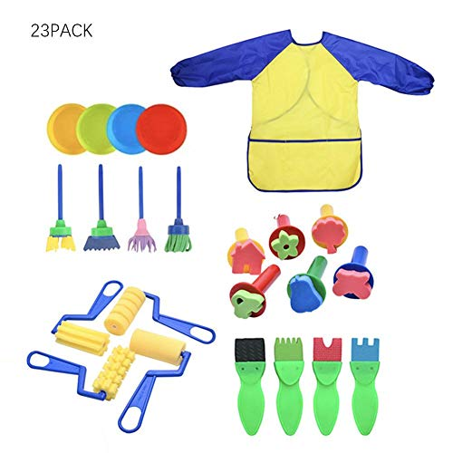 Comaie Kinder Malen Pinsel Schwamm Zeichnen Set Wasserdichte Schürze Für Kinder Doodle Teilen Farben Rollen Pinsel Werkzeug Kleinkinder Kunsthandwerk DIY Frühes Lernen Schreibwerkzeuge