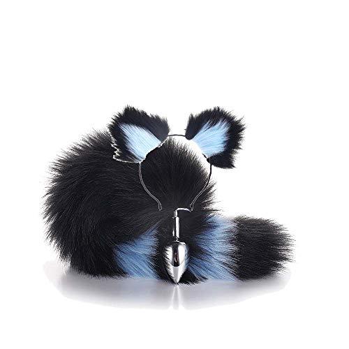 Blaue Ohren Kostüm Katze - ieyol Haarreif mit Katzenohren, Schwarz mit blauen Plüschtier, Fuchsschwanz für Halloween-Kostüm