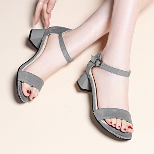 Damen Offen Wildleder High Heel Sandalen Mit 6cm Blockabsatz Und
